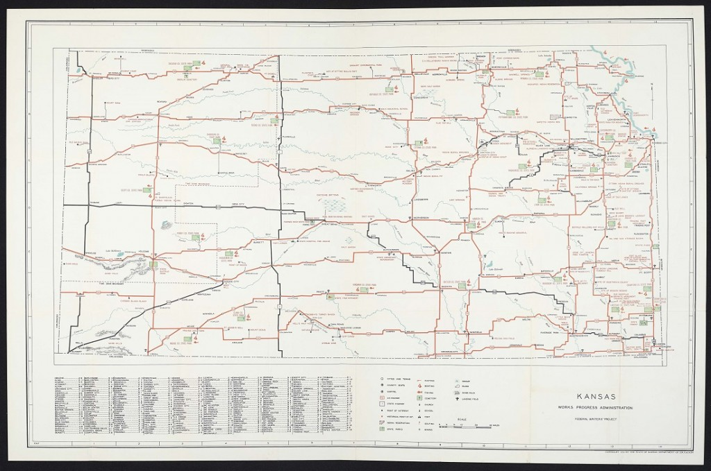 Fold-out map of Kansas from the American Guide Series for Kansas, 1939.