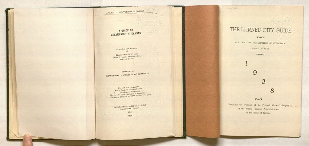 Title pages for American Guide Series for Leavenworth and Larned, Kansas