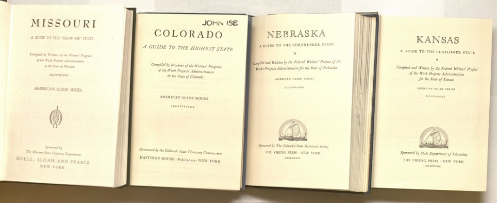 Image of title pages for American Guide Series volumes on Missouri, Colorado, Nebraska, and Kansas