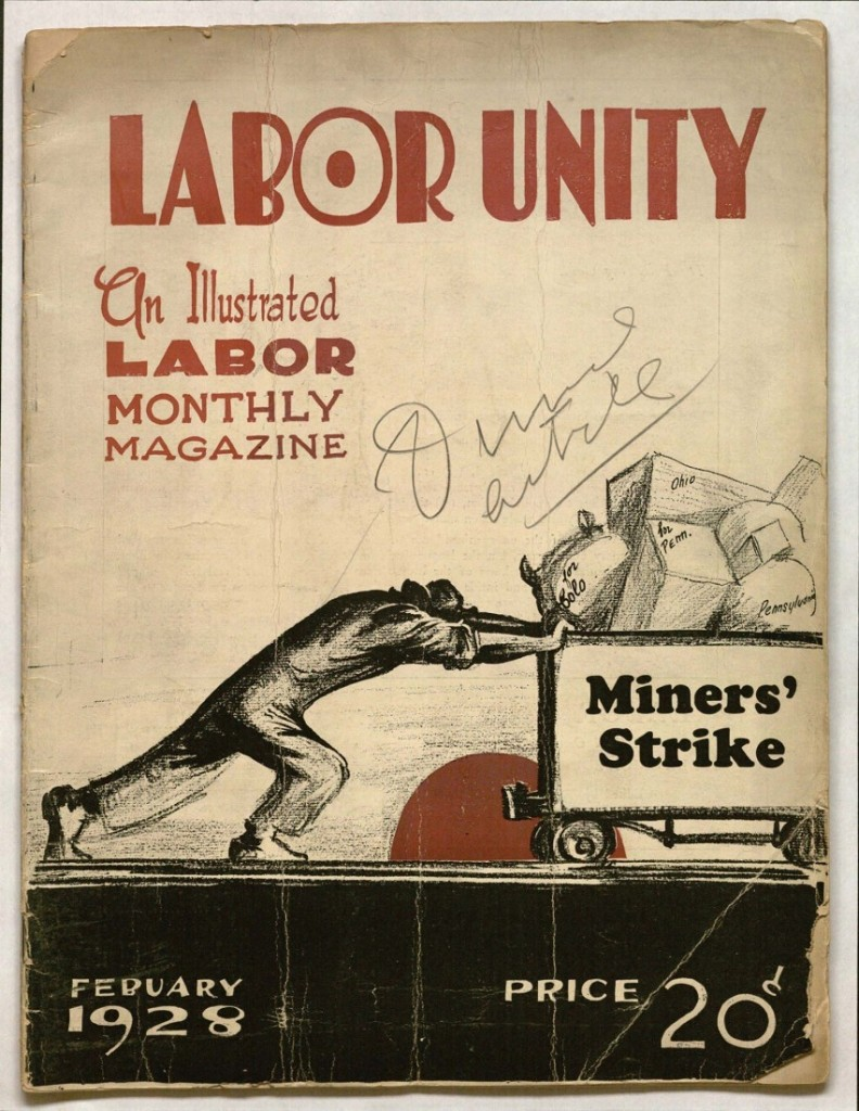 Cover of an issue of Labor Unity, February 1928