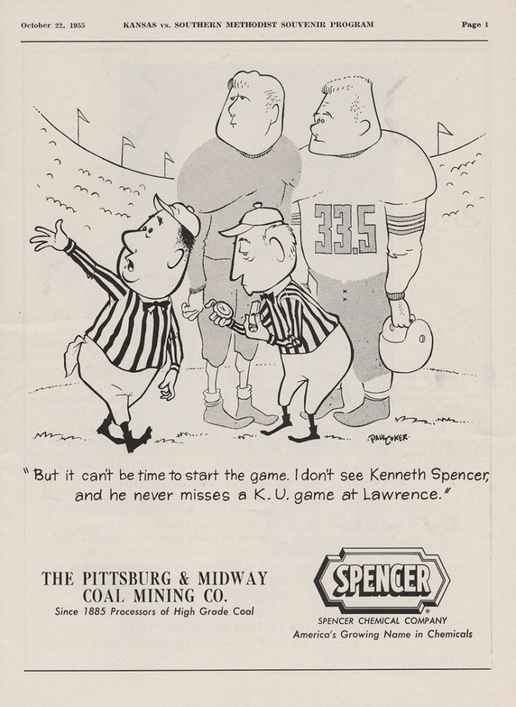 KU football program, Spencer ad, 1955