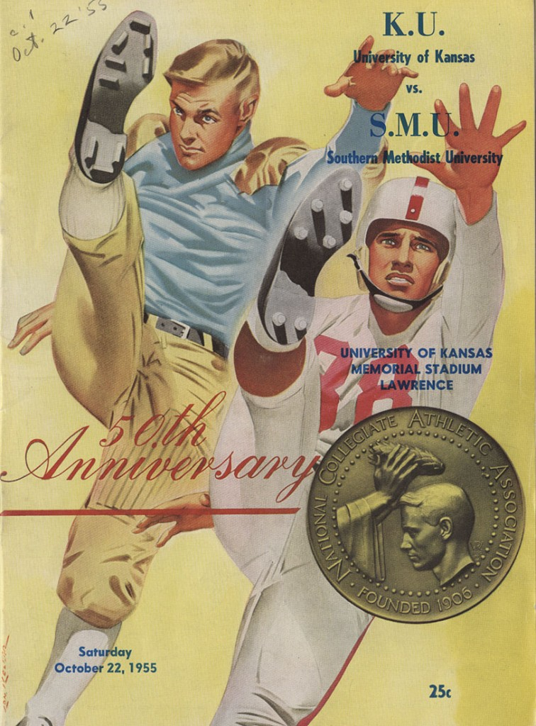 KU football program, cover, 1955