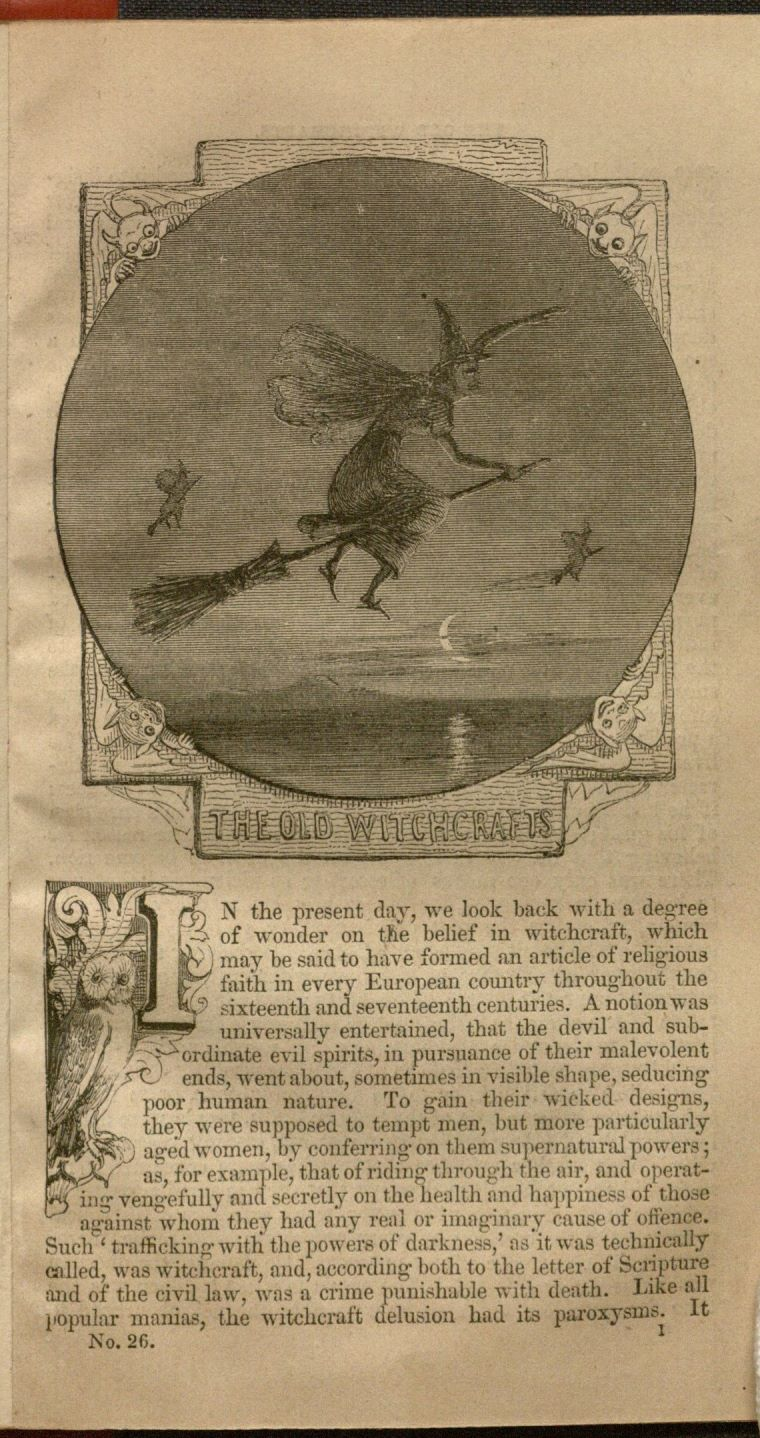 First page of the penny dreadful titled The Old Witchcrafts by Robert and William Chambers probably published in 1854 in London and Edinburgh. Special Collections, B1229.