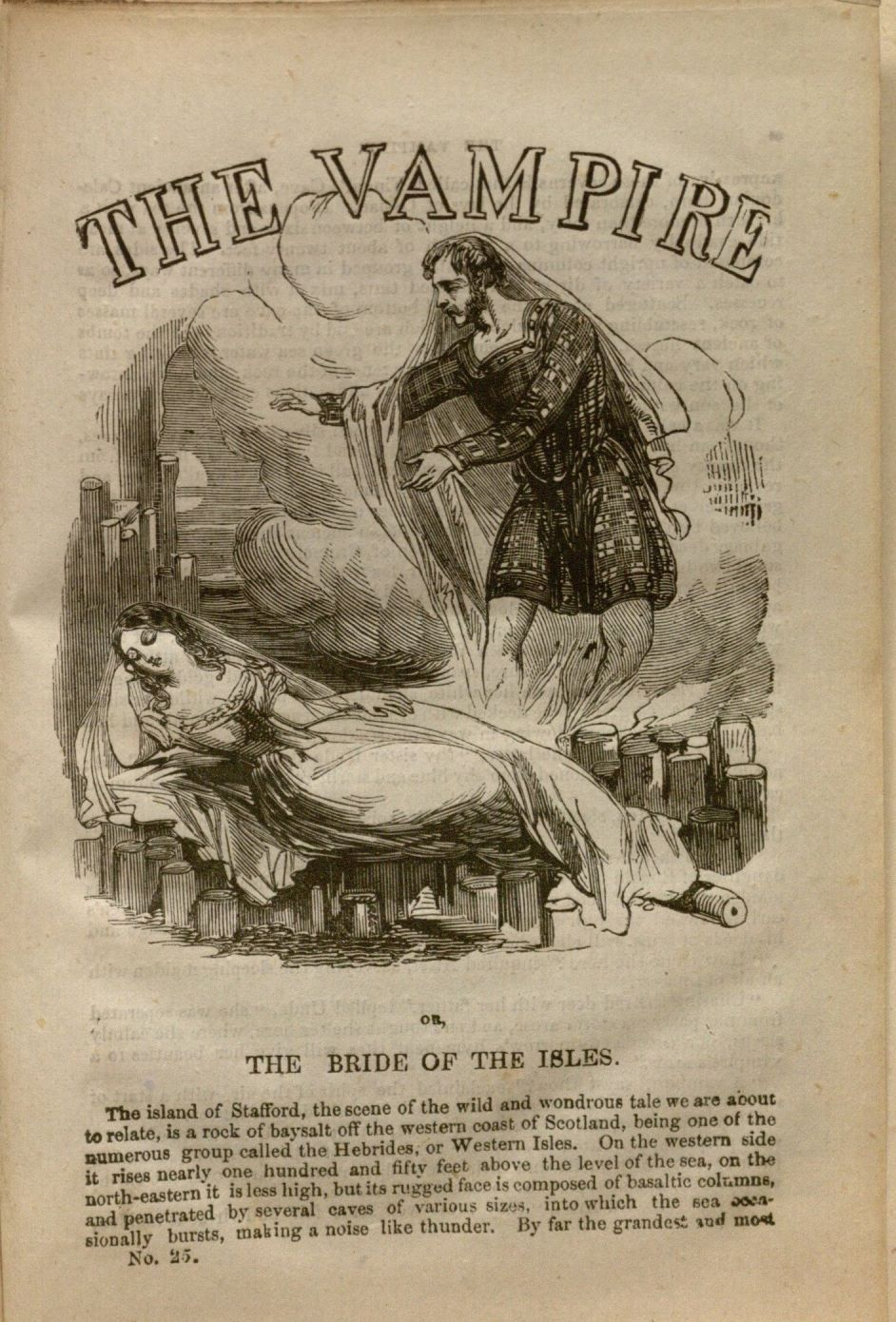 First page of the penny dreadful titled The Vampire, or, the Bride of the Isles. Published by G. Purkess circa 1853. Special Collections, B1239