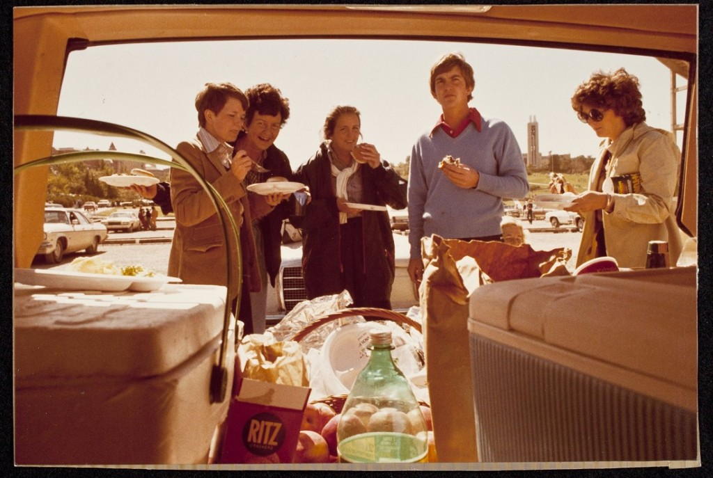 Photograph of KU football fans at a tailgate party, 1979/1980