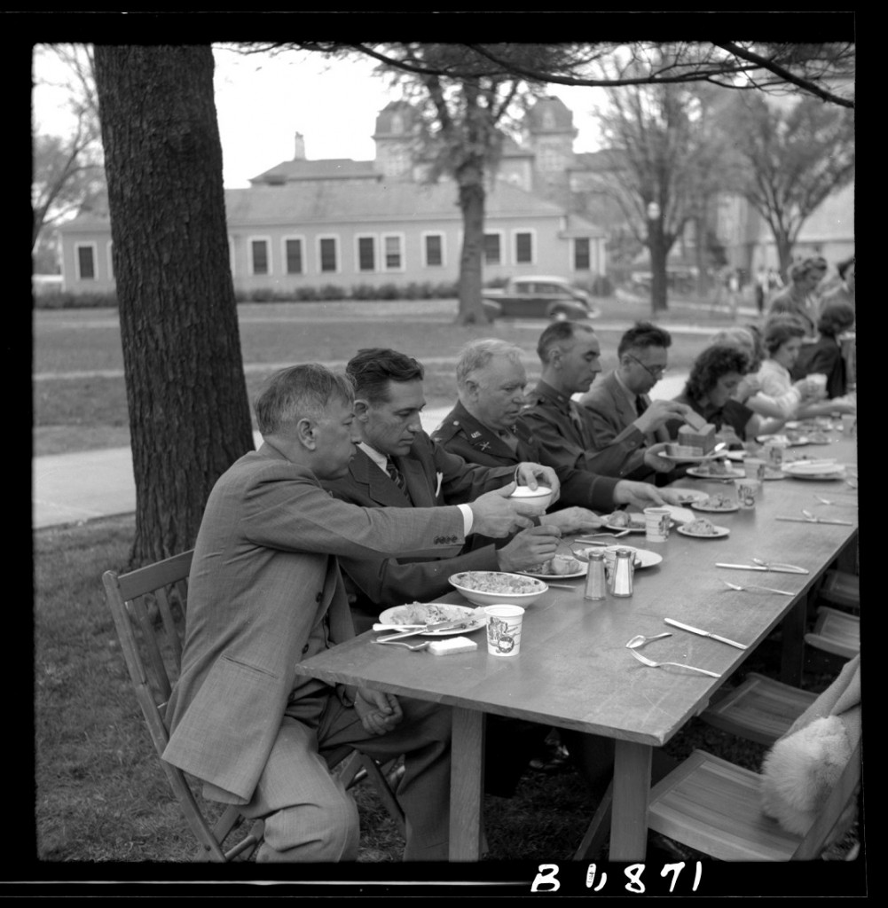 Photograph of a dinner on campus, 1941-1942