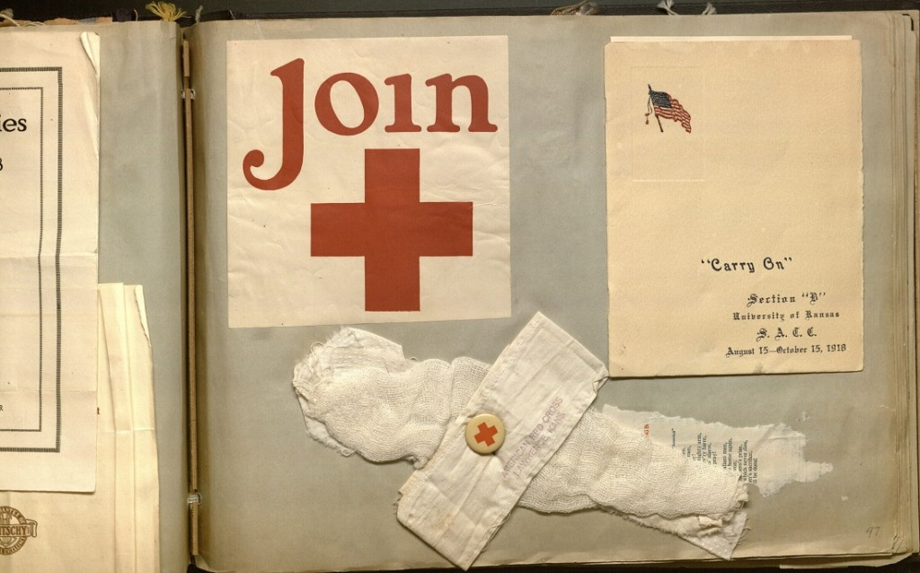 Photograph of surgical dressing and Red Cross pamphlet in the Florence Harkrader scrapbook, 1916-1919