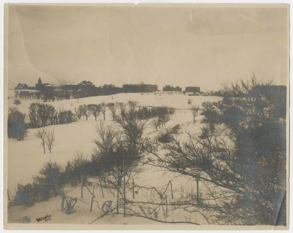 Photograph of campus in snow, 1915