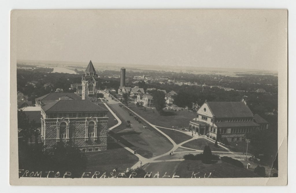 Photograph of campus looking north from Old Fraser Hall, 1910s