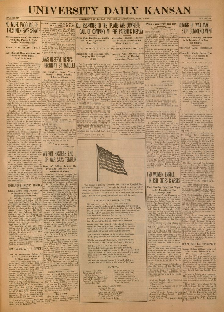 Front page of the University Daily Kansan, April 4, 1917