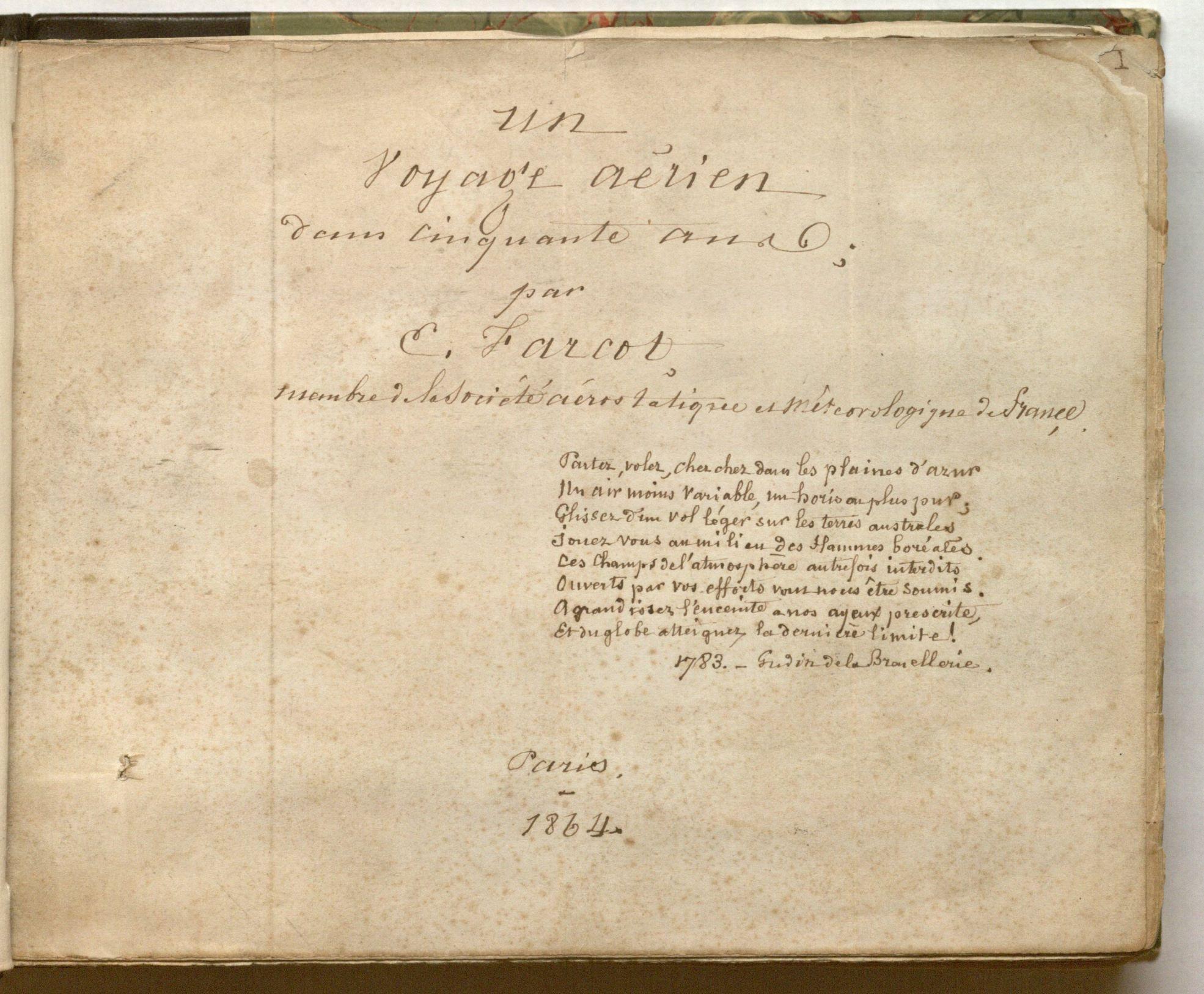 The title page from Eugène Farcot's Literary Manuscript Un Voyage Aérien; Dans Cinquante Ans. Special Collections.