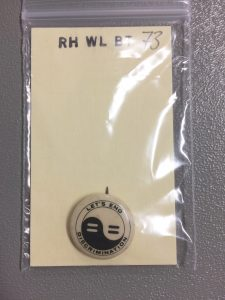 Wilcox button. Call number RH WL BT 73. Spencer Research Library.