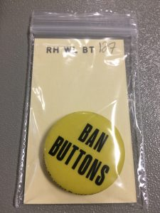 Wilcox button. Call number RH WL BT 127. Spencer Research Library.