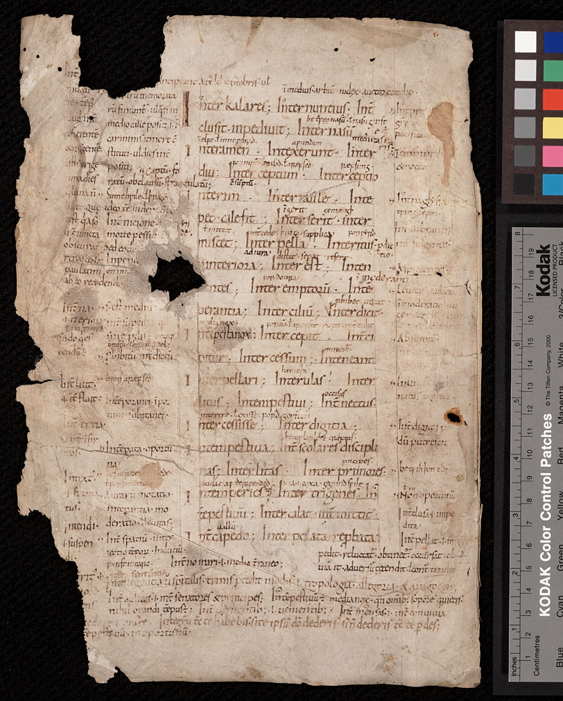 Latin glossary with Latin and Old English glosses, covering the words interkalares to istingum (recto). Worcester (?), West Midlands, England, circa 990 - 1010. Call #: MS Pryce C2:1 Kenneth Spencer Research Library, University of Kansas