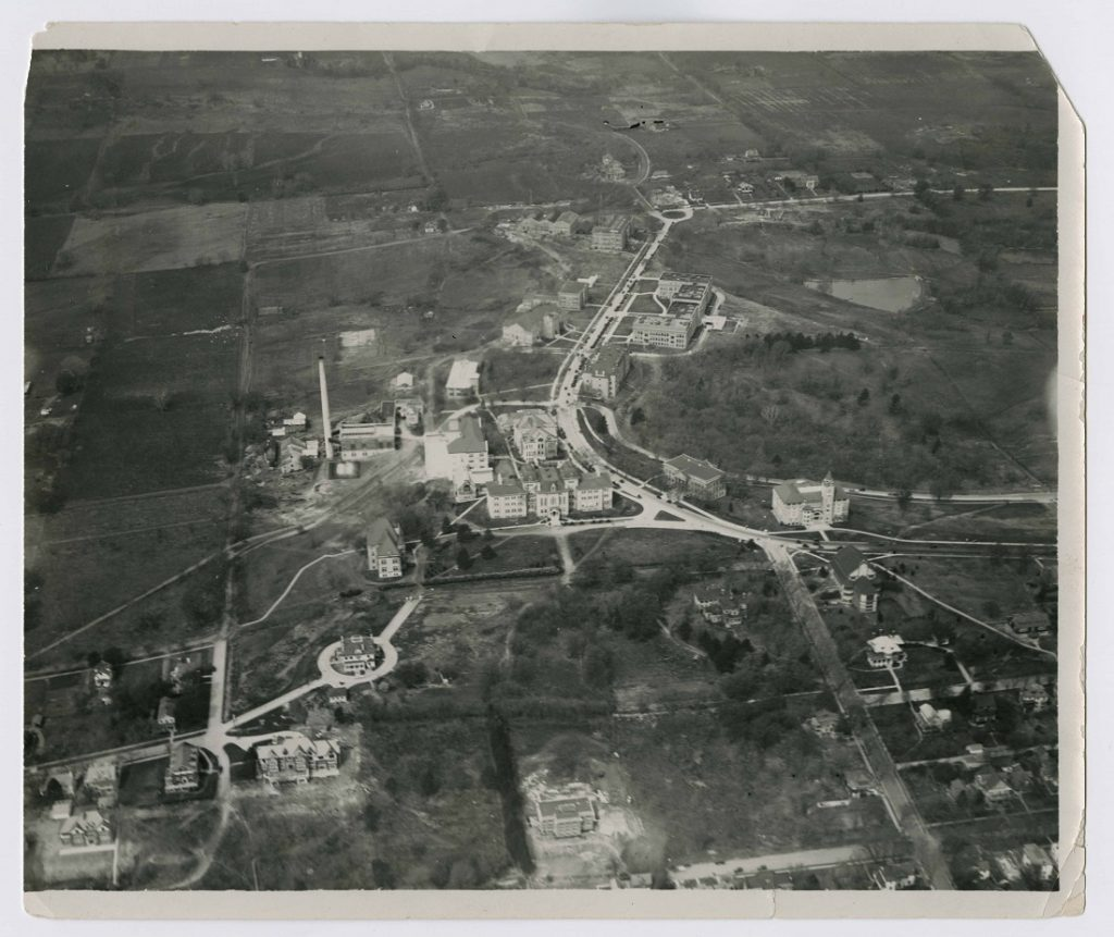 Aerial photograph of campus looking west, 1925