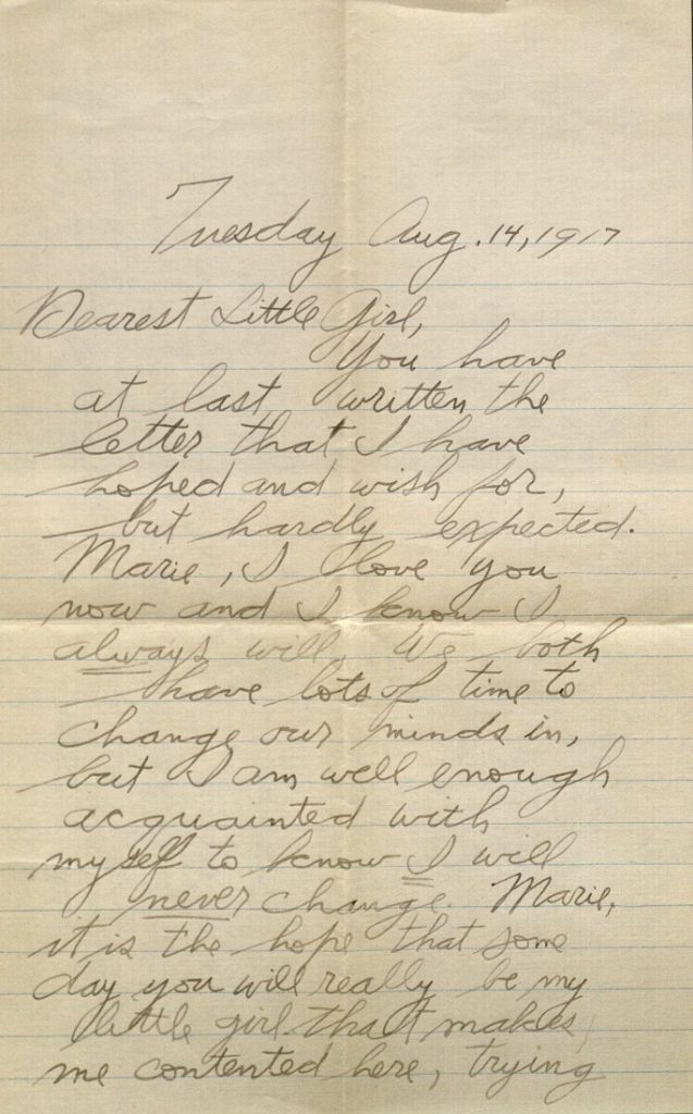 Image of Forrest W. Bassett's letter to Ava Marie Shaw, August 14, 1917