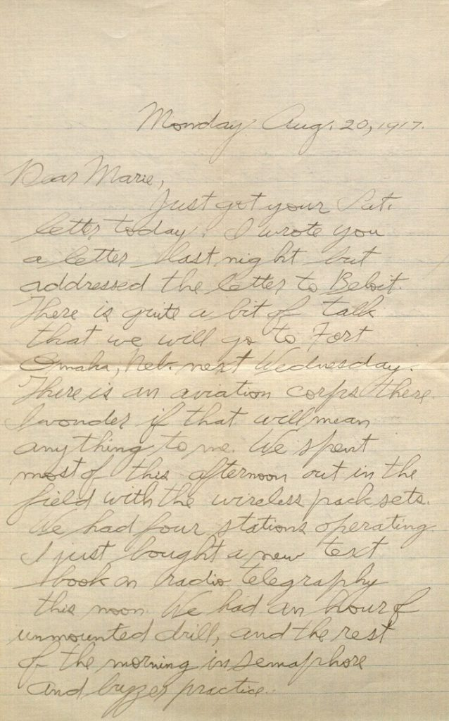 Image of Forrest W. Bassett's letter to Ava Marie Shaw, August 20, 1917