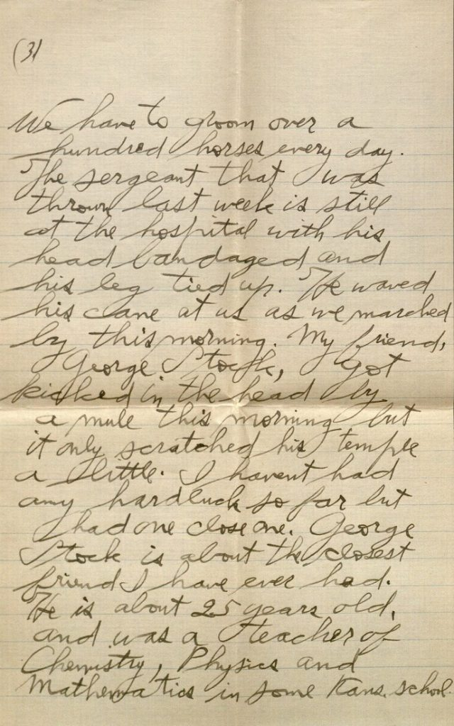 Image of Forrest W. Bassett's letter to Ava Marie Shaw, August 26, 1917