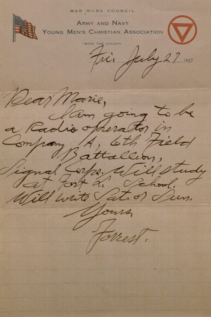 Image of Forrest W. Bassett's letter to Ava Marie Shaw, July 27, 1917