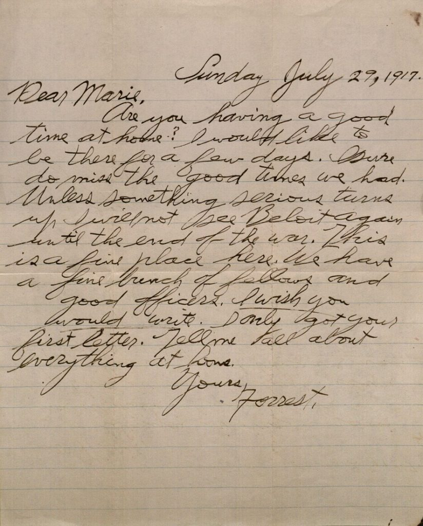 Image of Forrest W. Bassett's letter to Ava Marie Shaw, July 29, 1917