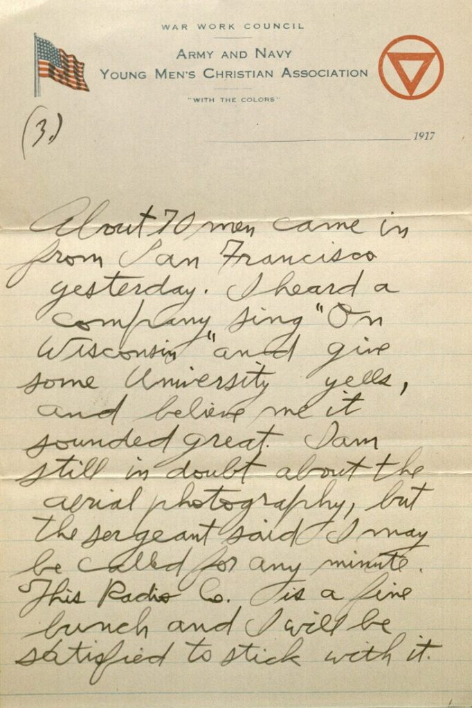Image of Forrest W. Bassett's letter to Ava Marie Shaw, August 6, 1917