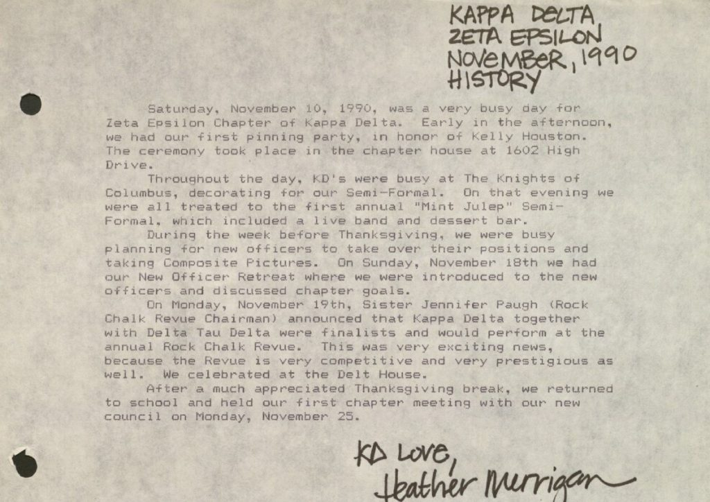 Image of an excerpt of the Kappa Delta Historian's report, November 1990