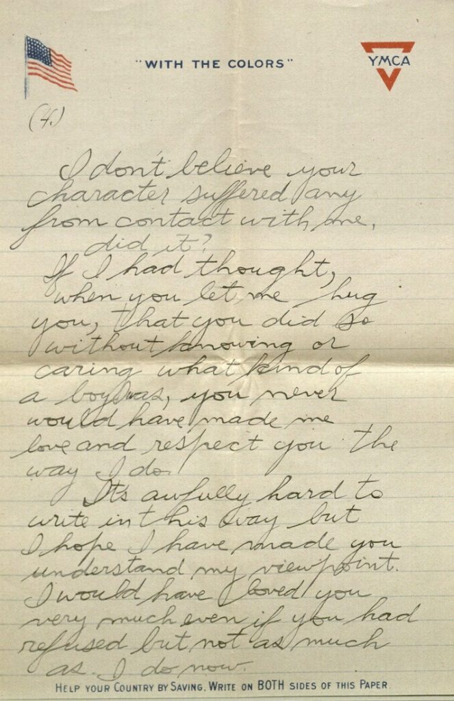 Image of Forrest W. Bassett's letter to Ava Marie Shaw, September 12, 1917