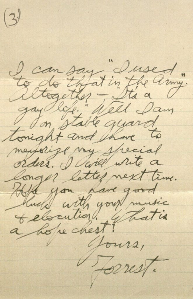 Image of Forrest W. Bassett's letter to Ava Marie Shaw, September 19, 1917