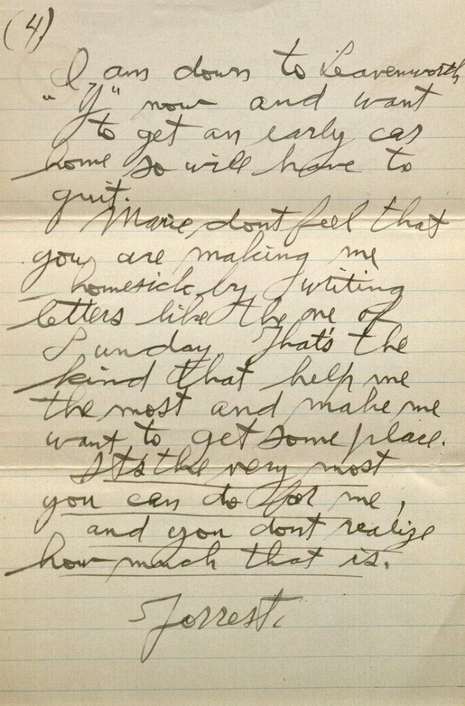 Image of Forrest W. Bassett's letter to Ava Marie Shaw, September 25, 1917