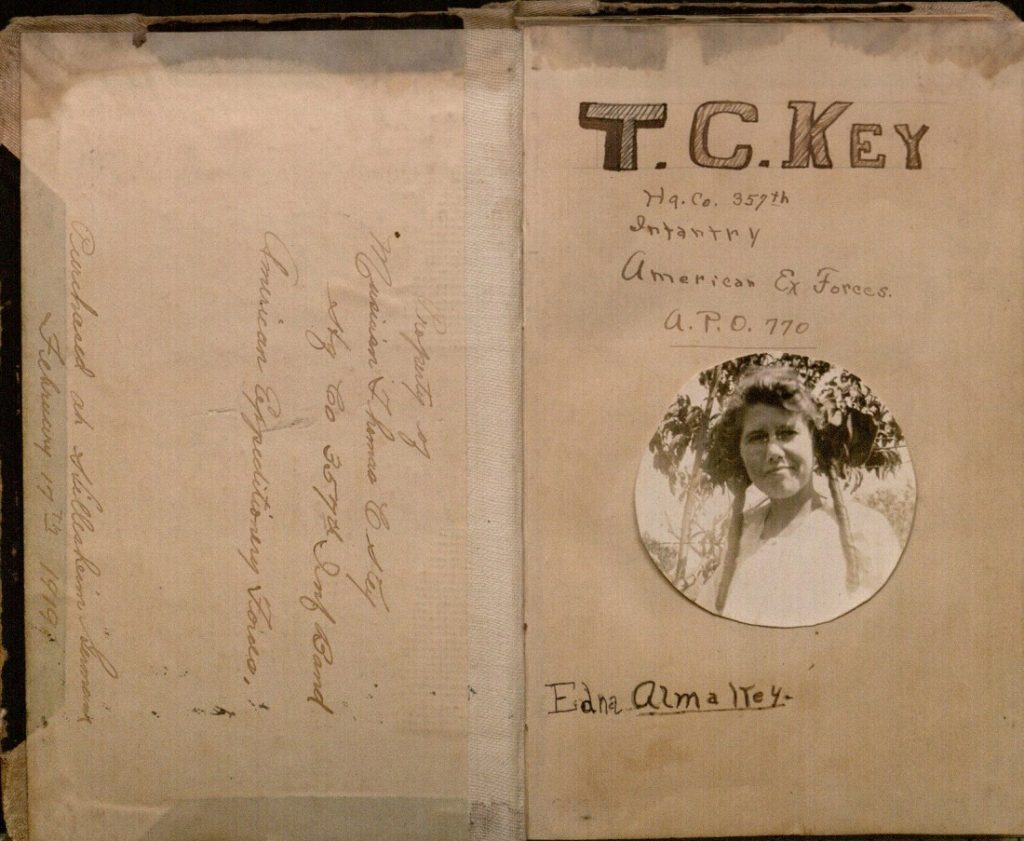 Image of the title page of Thomas Key's World War I diary