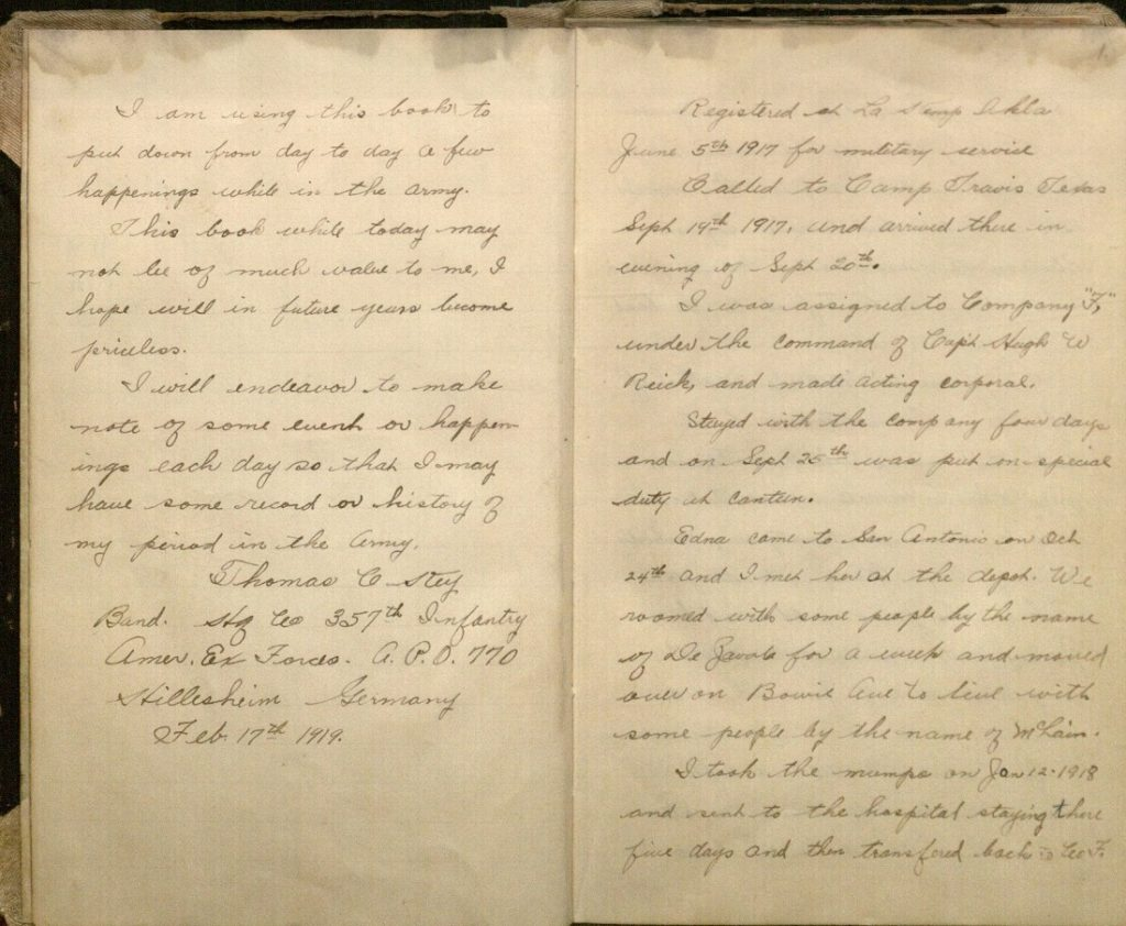 Image of the first page of entries in Thomas Key's World War I diary