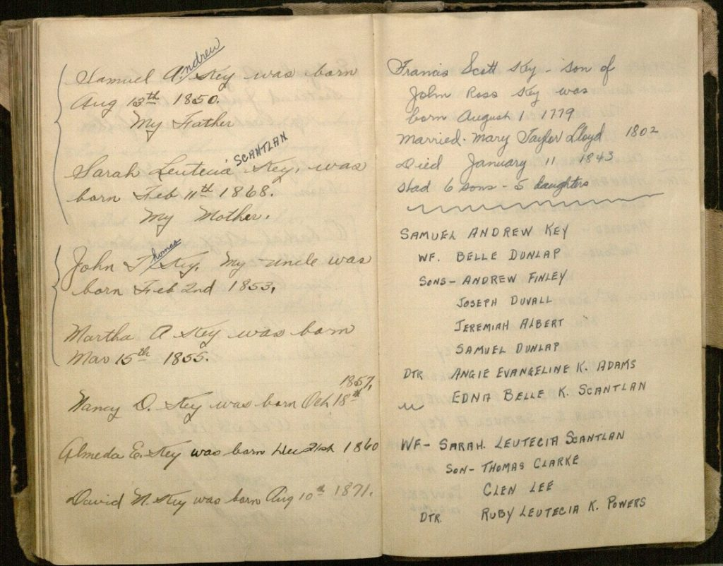Image of family history information in Thomas Key's World War I diary