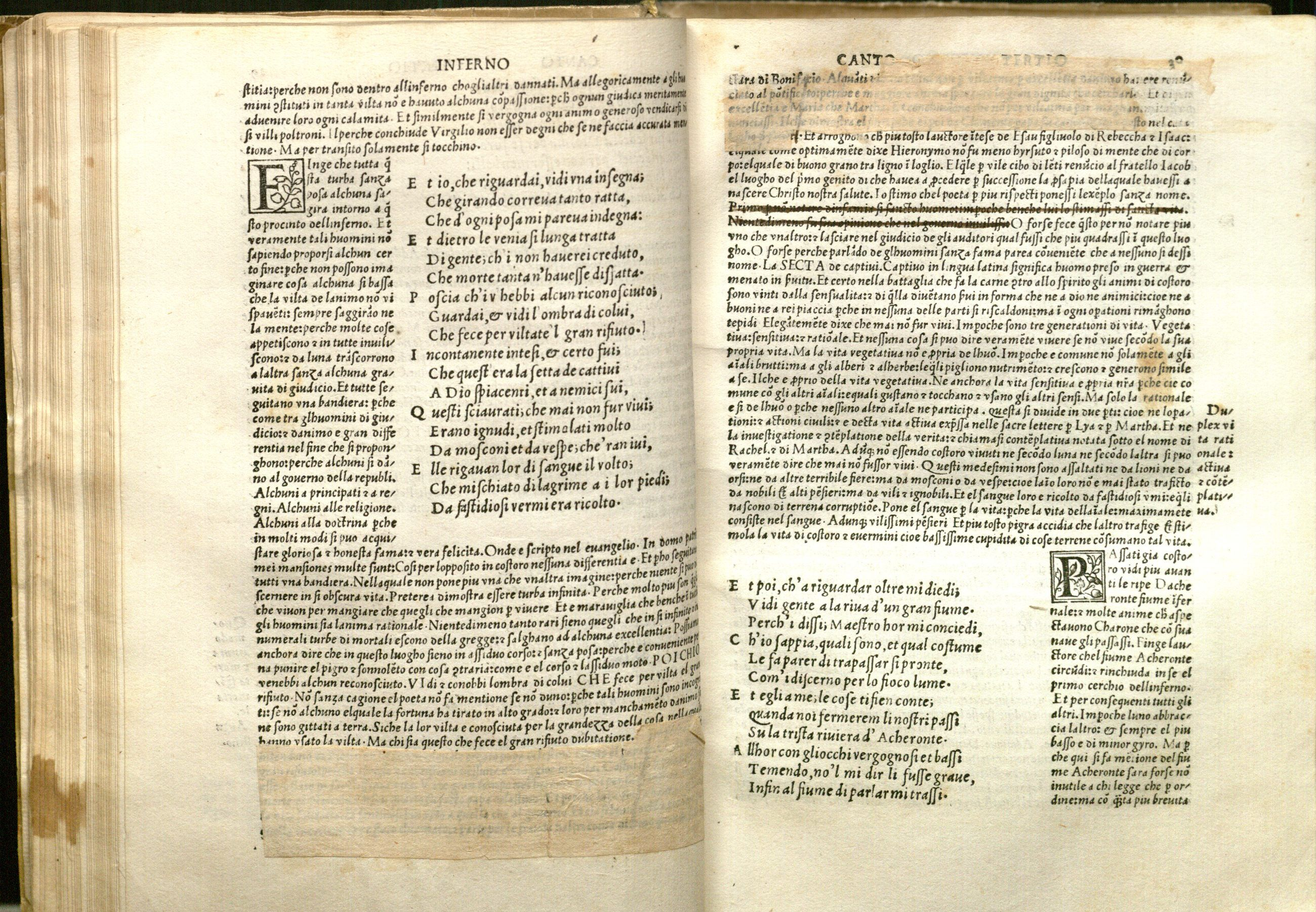 Image of passages redacted in ink and by the pasting of paper on folio 29v and 30r