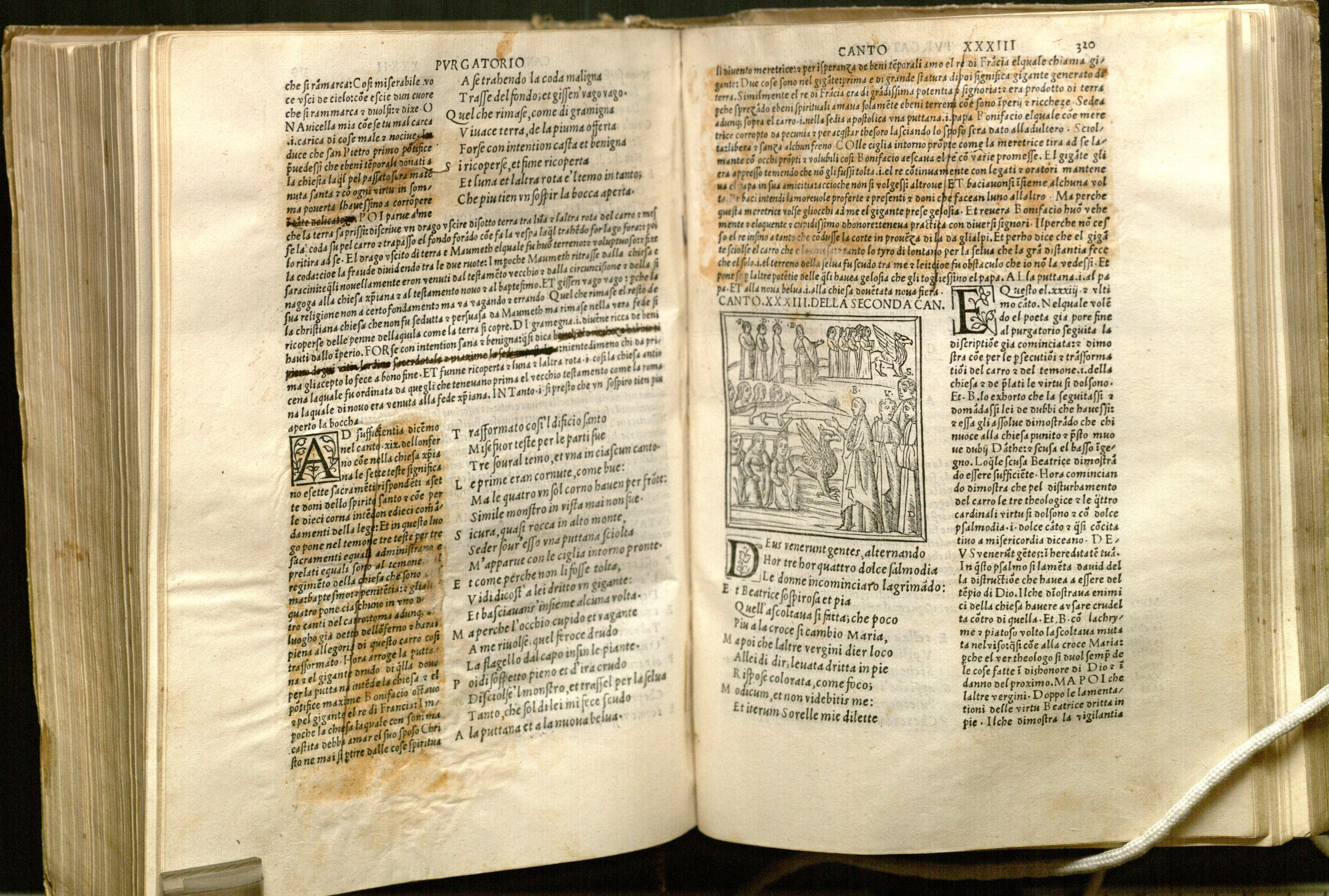Image of redactions to the commentary for the Purgatorio (f. 319v and 320r)