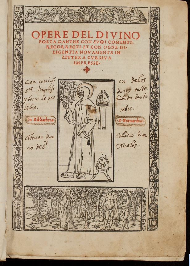 Title page of 1512 edition of Dante's Comedia, with redaction command in manuscript.