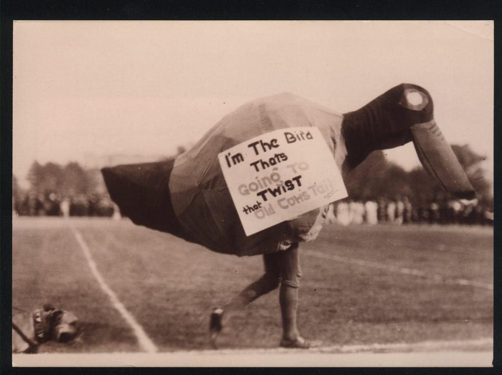 Photograph of the Jayhawk mascot at a football game, 1923