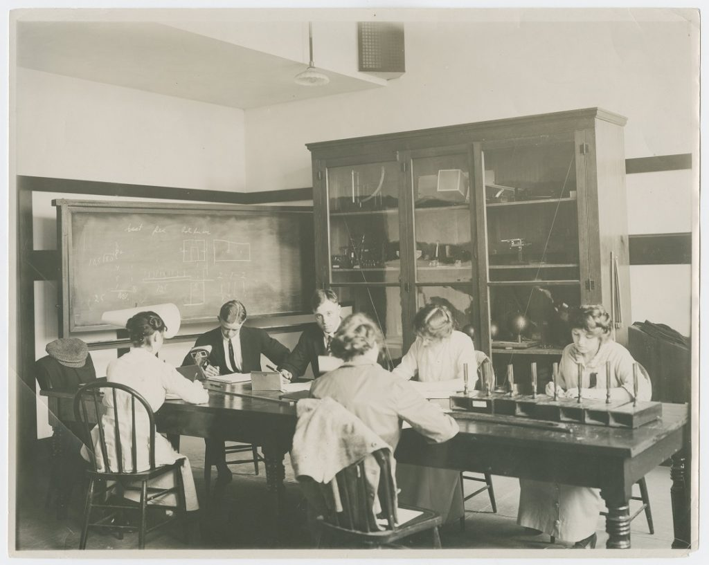 Photograph of KU students studying, 1882