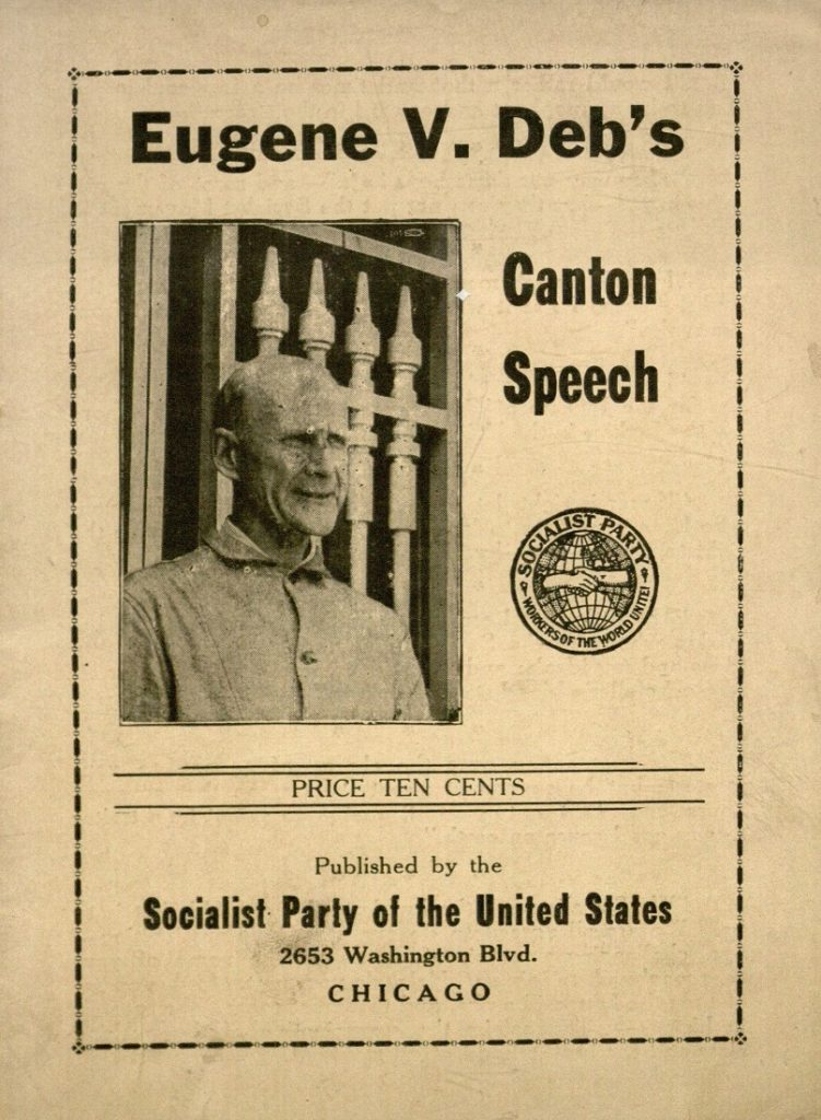 The cover of the pamphlet entitled Eugene V. Deb's Canton Speech, published after 1921
