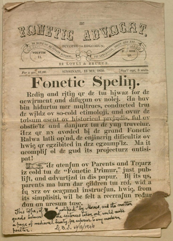 First page of the Fonetic Advocat for 15 May 1850, with its text in the English Phonotypic Alphabet.