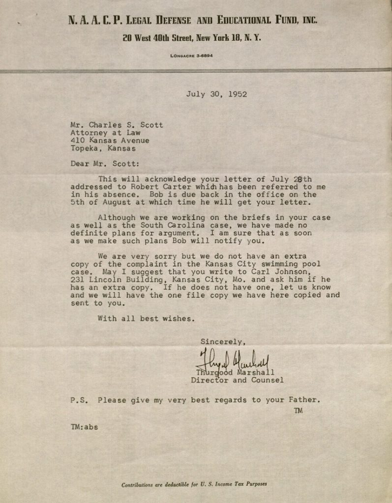 Image of a letter from Thurgood Marshall to Charles S. Scott, July 30, 1952