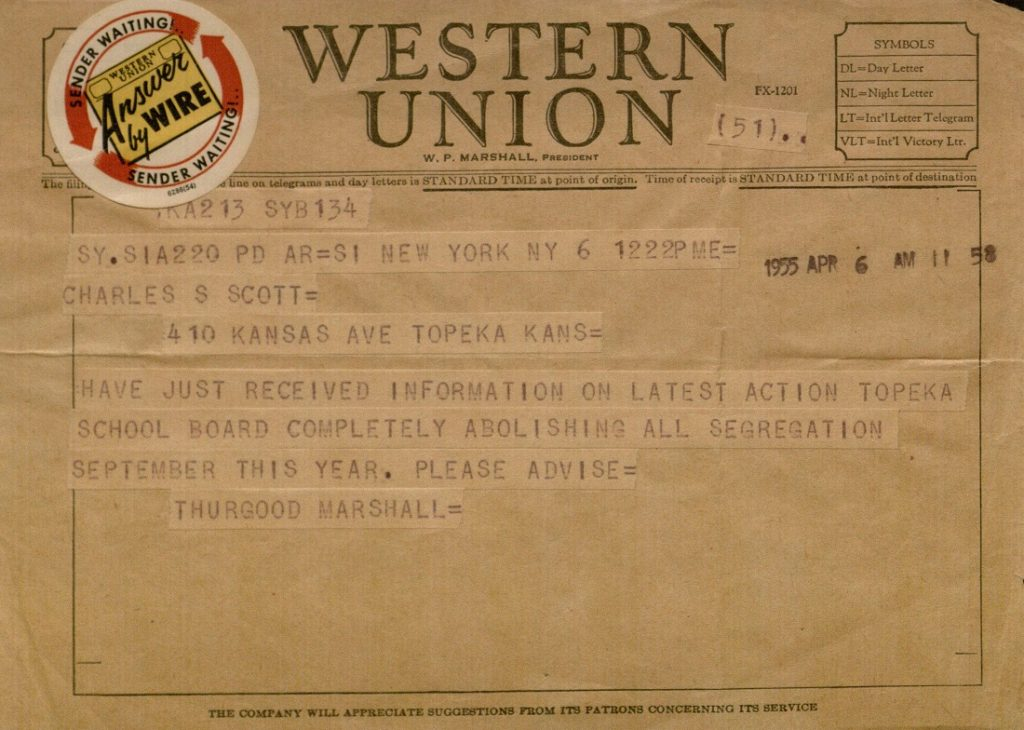 Image of a telegraph from Thurgood Marshall to Charles S. Scott, April 6, 1955