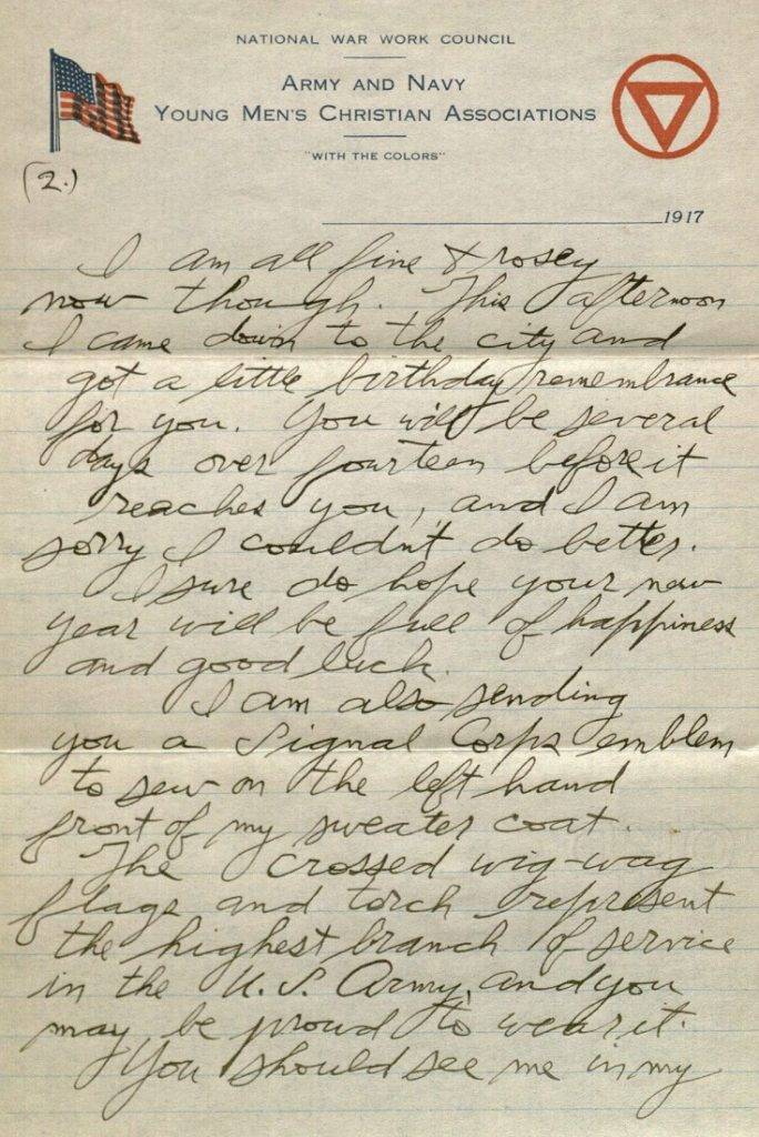 Image of Forrest W. Bassett's letter to Ava Marie Shaw, October 12, 1917