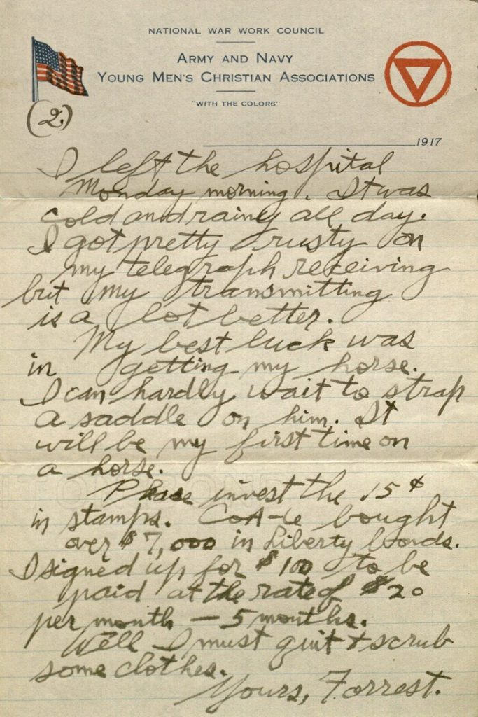 Image of Forrest W. Bassett's letter to Ava Marie Shaw, October 21, 1917