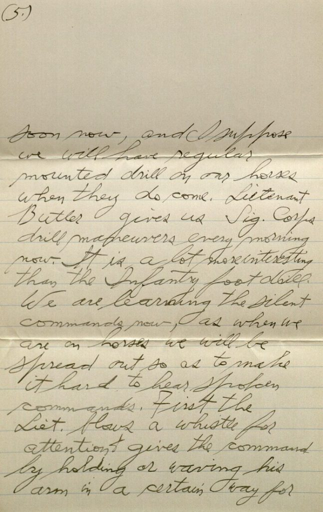 Image of Forrest W. Bassett's letter to Ava Marie Shaw, October 26, 1917