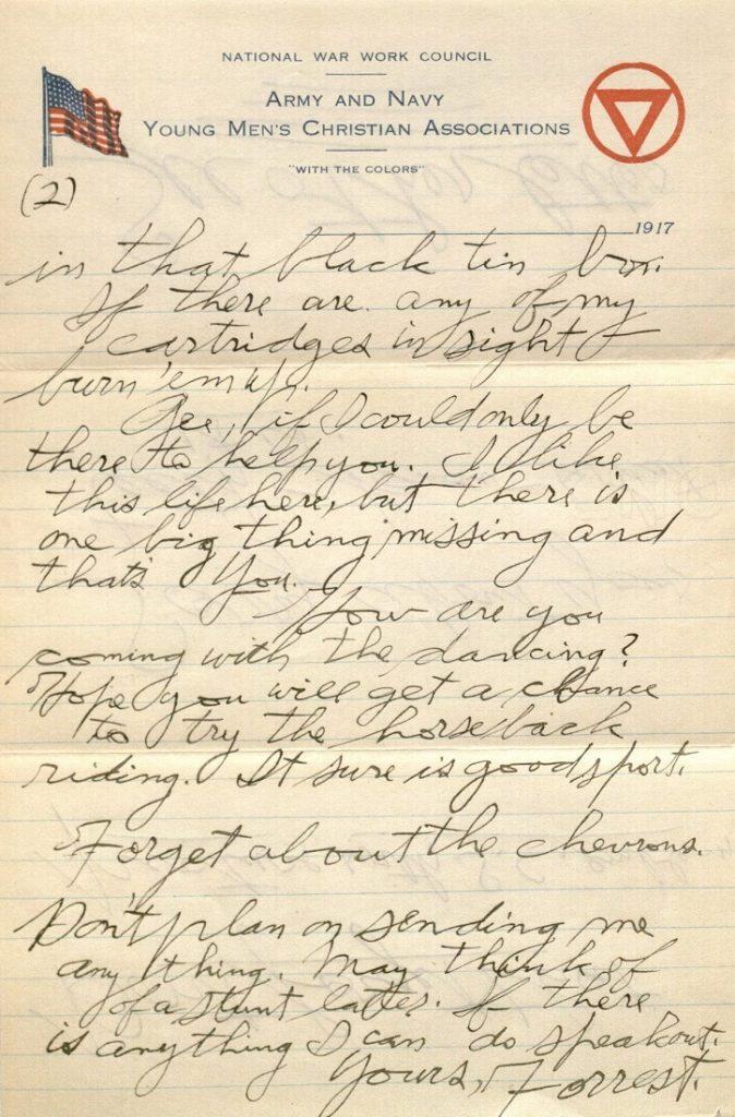 Image of Forrest W. Bassett's letter to Ava Marie Shaw, November 2, 1917
