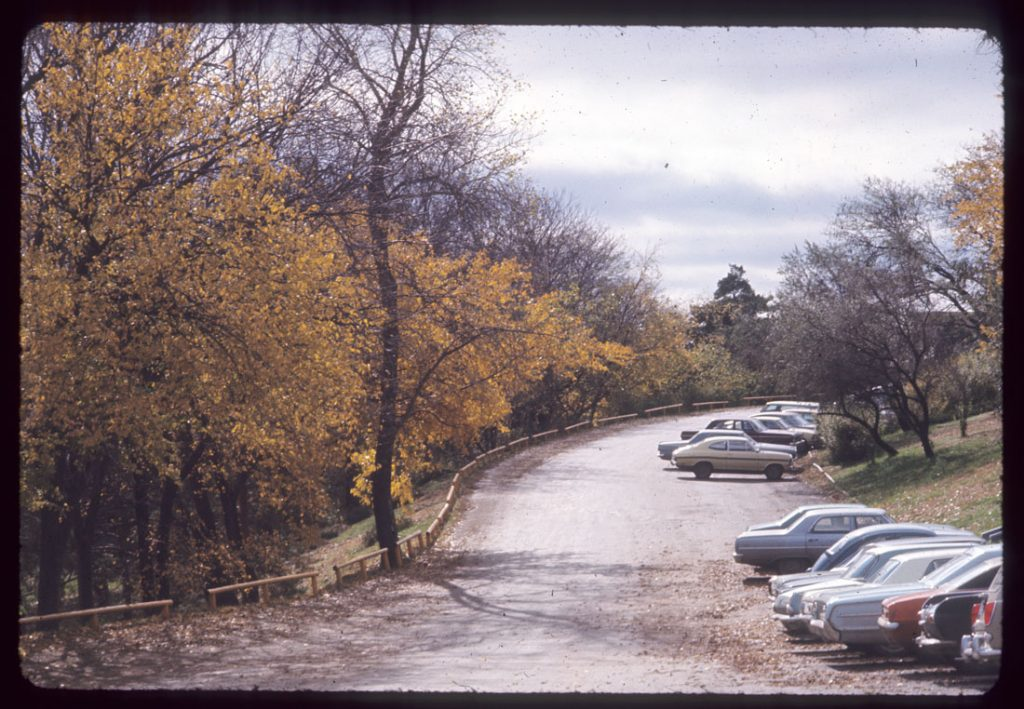 Photograph of Memorial Drive in the fall, 1960s