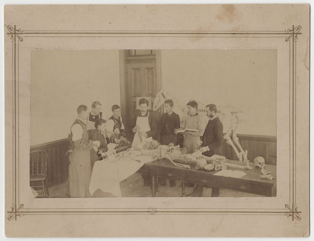 Photograph of Lewis Lindsay Dyche teaching an anatomy class, 1890s