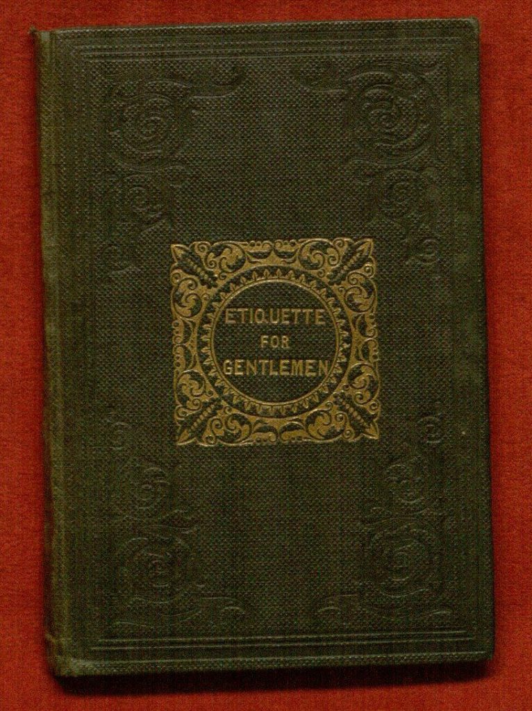 Stamped cloth binding of Etiquette for Gentlemen (1841 edition)