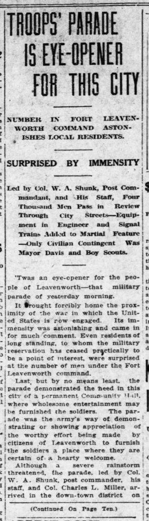 "Image of Leavenworth Times article, ""Troops' Parade an Eye-Opener for This City,"" November 18, 1917"