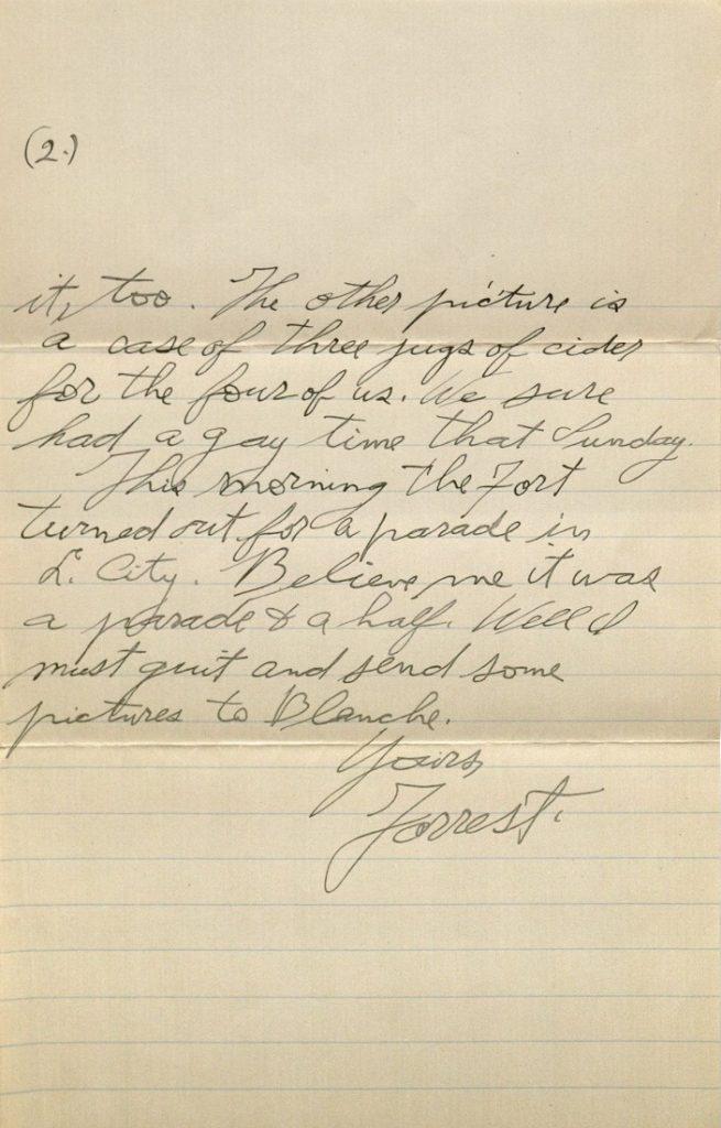 Image of Forrest W. Bassett's letter to Ava Marie Shaw, November 17, 1917